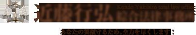 近藤行弘綜合法律事務所では民事・交通事故・離婚・相続・債務整理・過払い・行政手続き・企業法務事務・刑事事件を取り扱う法律のプロフェッショナルです。
